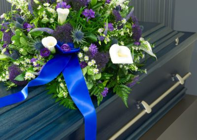 Coffin in morgue
